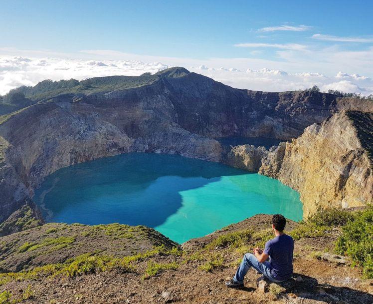Vista de 2/3 lagos do Vulcão Kelimutu