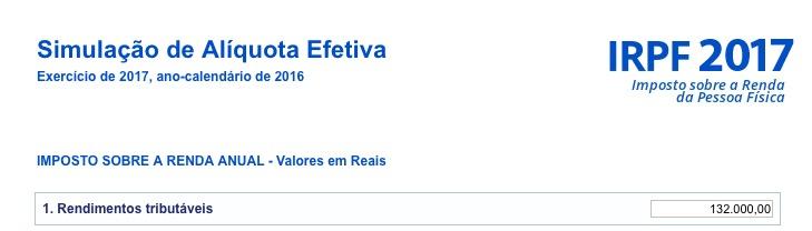 Entrada: Receita Bruta Tributável = 132.000,00 reais.